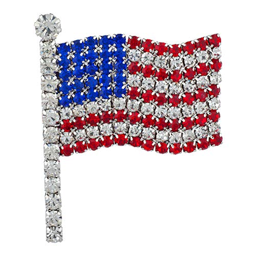 Lux Accessories Silvertone American Flag Blue Red Clear Crystal Rhinestones Pins