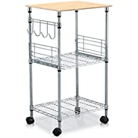 Yaheetech 3-Tier Wire Rolling Kitchen Microwave Cart,Chrome