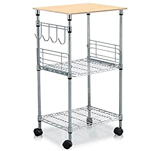 World Pride 3 Tier Microwave Cart 21 By 15 By 36 Inch Chrome Home Kitchen