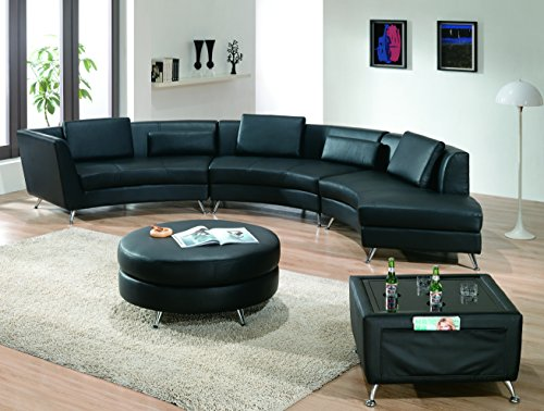 Modern Line Furniture 8004B-G8 Contemporary Leather Curved Open-Chaise Sectional Sofa with Ottoman and Multi-Function Coffee Table Restaurant/Bar/Nightclub/Hospitality Furniture, Black (Pack of 5) (Cocktail Sectional)