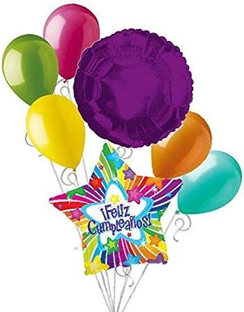 Amazon.com: 7 pc Bright Star Feliz Cumpleanos Balloon ...