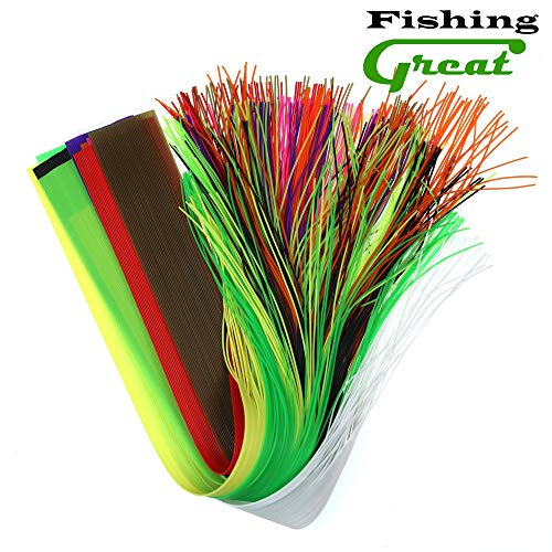 (Greatfishing 10pcs Mix Color 40 Strands/Pack 30CM Length Micro Silicone Rubber Skirts for Soft Worm Trout Fly Legs Fishing Jig Lure Skirts Fly Tying)