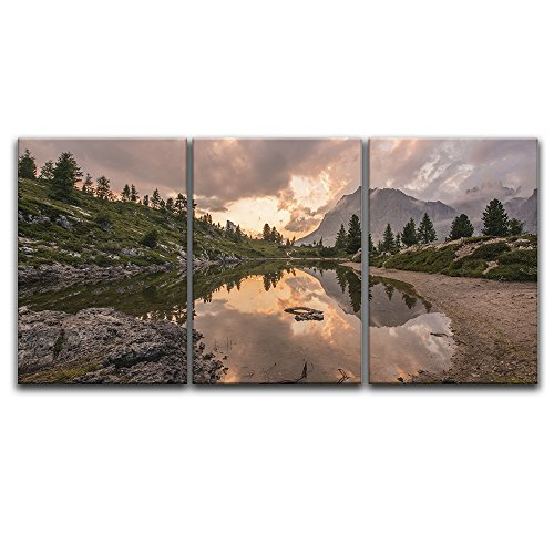 3 Panel Majestic Landscape with Fire Color Clouds and the Reflection on the Lake x 3 Panels