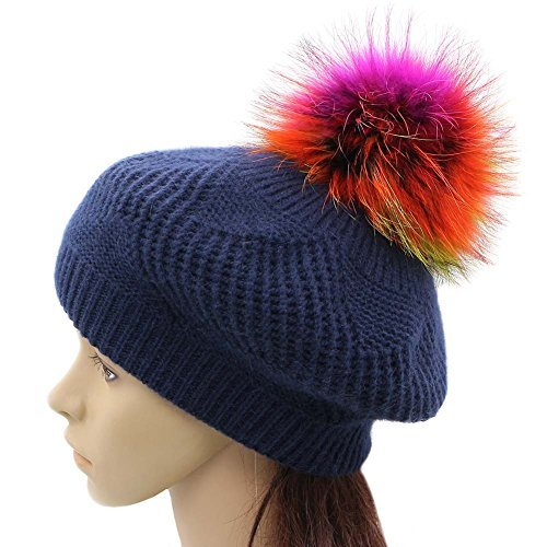 5489811afaebe GZHILOVINGL Wool Knit Beret Hats for Women Spring Slouchy Beanie Cap with Pom  Pom