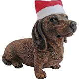 Sandicast Red Dachshund with Santa Hat Christmas Ornament