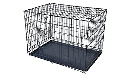 "PayLessHere 48"" XXXL Dog Crate W/Divider Double-doors Folding Metal Dog Cage w/ Free Tray"