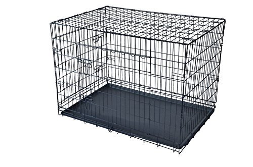 PayLessHere 48″ XXXL Dog Crate W/Divider Double-doors Folding Metal Dog Cage w/ Free Tray