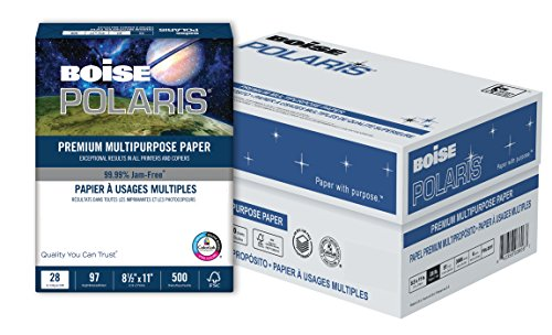 - BOISE POLARIS Premium Multipurpose Paper, 8.5 x 11, 97 Bright White, 28 lb, 6 ream carton (3,000 Sheets)