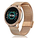 LIGE Smart Watch with Heart Rate Monitor Blood Pressure Blood Oxygen Sleep Monitor Smart Bracelet IP68 Waterproof Step Tracker Calorie Counter Fitness Tracker Watch Diamond with Mesh Band for Ladies …