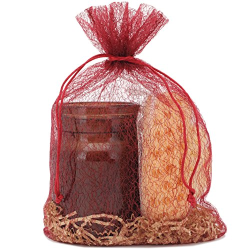 30 Organza Fabric Gift Bags Pouches Party Favor Goody Gift Bags Red Burgundy Large 8.75