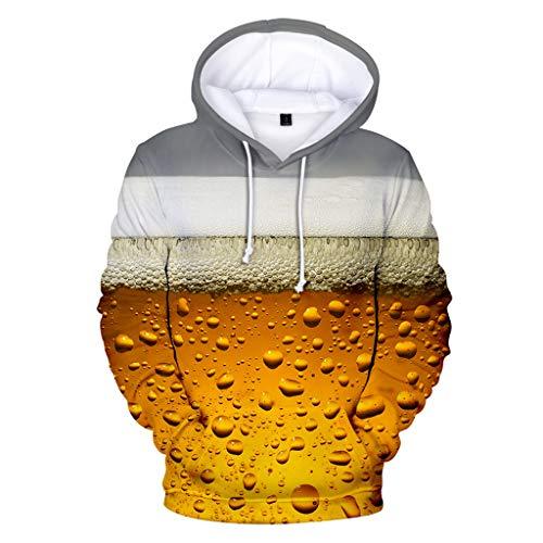 Unisex Men Hooded Sweatshirt Casual Funny Beer Print Pullover Hoodie Jacket (M, Gray)