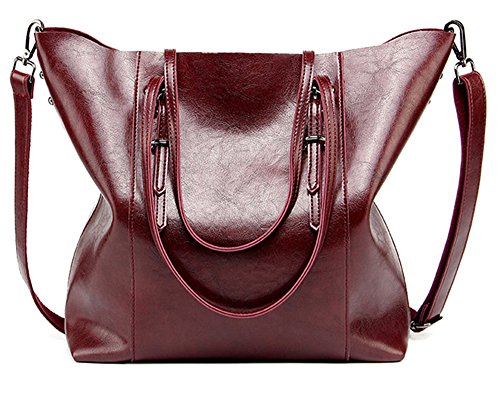 Women Handbags,Handmade Large Leather Top Handle Crossbody Shoulder Tote Satchel Messenger Bags Big Purse For Shopping Travel School (Burgundy)