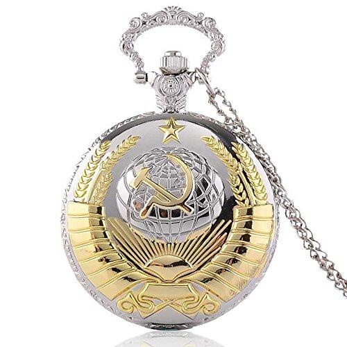 Fashion Silver Gold USSR Soviet Sickle Hammer Men's Quartz Pocket Watch Steampunk Pendant Necklace Chain