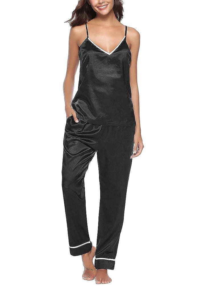Yuanu Donna Estate Thin Traspirante Camicia Da Notte Seta, V-Collo Sling Top + Pantaloni Lunghi 2 Pieces Sets Pigiama Accappatoio