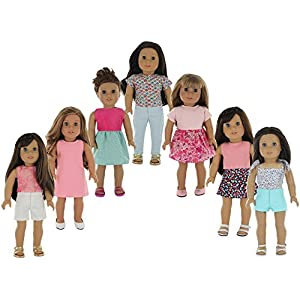 """American Girl Doll Clothes Wardrobe Makeover- 7 Complete Outfits, Fits 18"""" Doll Clothes- by PZAS Toys"""