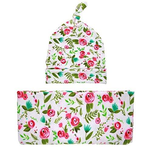 ArMordy(TM) New Print Fotografia Newborn Hat + Wraps Blanket Newborn Photo Props Accessories for 0-3M 1 Set[ Fushia Flower (Dog Skunk Halloween)