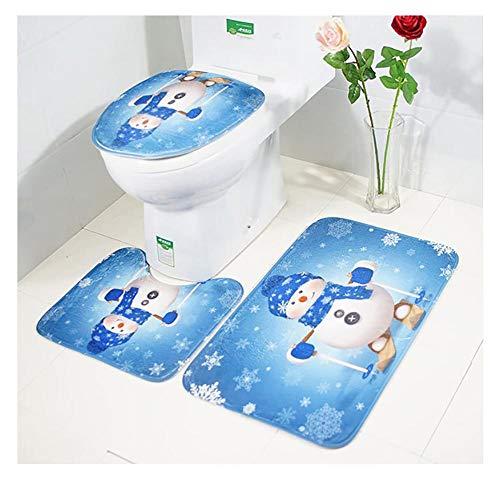 Bathroom Rug Mats Set 3 Piece, Christmas Style Soft Shower Bath Rug Bathroom Non-Slip Pedestal Rug + Lid Toilet Cover + Contour Bath Mat Santa Claus