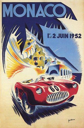 Grand Prix Car Race Automobile Monaco 1952 Vintage Poster Repro