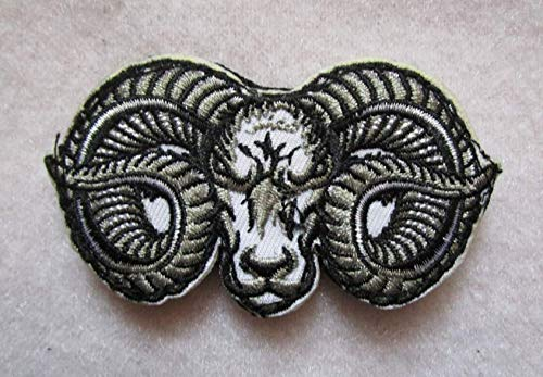 Evil Ram Horns Goat Head 3D Tactical Military Badges Embroidered Patch Back with Loops and Hook ()