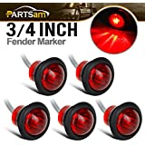 "Partsam 5Pcs 3/4"" Round Led Clearance Side Marker Lights Truck Trailer Lamps Indicators w/Grommet Sealed Waterproof for Pickup Trucks RV Camper Car Bus Van Caravan Boat"