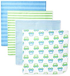 Gerber Baby-Boys Newborn 4 Pack Flannel Blanket-Stripes, Blue, One Size
