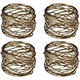 Yourtablecloth Napkin Rings or Napkin Holders – Enhanced & Appealing Table Décor for Weddings, Parties, Christmas, New Year or Every Day Use – Gold Mesh Napkin Rings – Set of 4