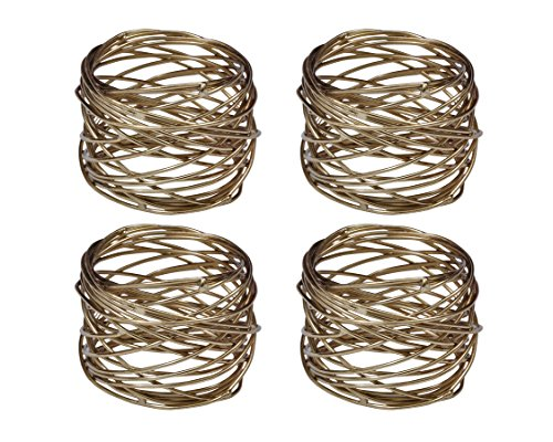 Yourtablecloth Napkin Rings or Napkin Holders – Enhanced & Appealing Table Décor for Weddings, Parties, Christmas, New Year or Every Day Use – Gold Mesh Napkin Rings – Set of 4 by Yourtablecloth