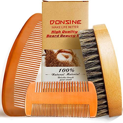 Beard Brush and Beard Comb Set 3 Pcs – For Men Beard and Mustache, Pear Wood dual sided comb