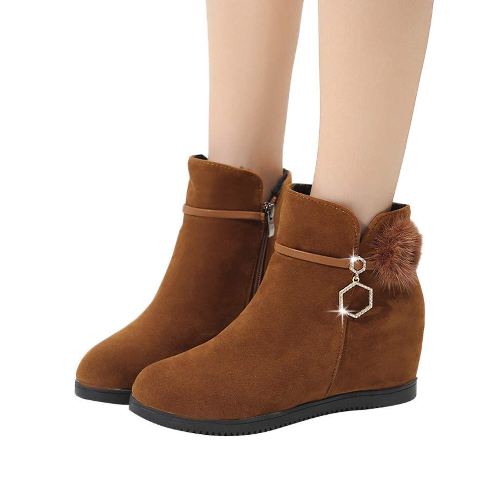 Zapatillas de Mujer de BaZhaHei, Zapatos Pure Color Zipper Boots de Botines de Punta Redonda con Bola de Gamuza para Mujer Cuña de Cabeza Redonda con Bola ...
