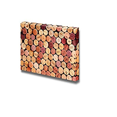 Canvas Prints Wall Art - Closeup of a Wall of Used Wine Corks Vintage/Retro Style | Modern Wall Decor/Home Decoration Stretched Gallery Canvas Wrap Giclee Print & Ready to Hang - 12
