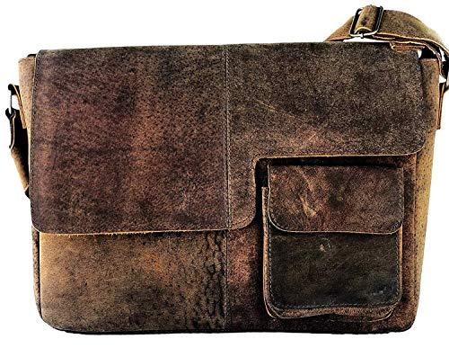 AOL Buffalo Leather Distressed Brown Messenger Bag Shoulder Bag 15 inch laptop bag