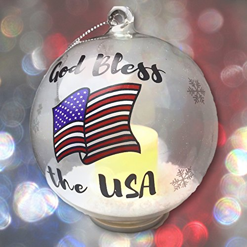 Patriotic Christmas Ornament – Glass Ball Ornament with God Bless the USA – Light Up Ornament with a LED Candle and Artificial Snow Inside – Red White and Blue American Flag Design