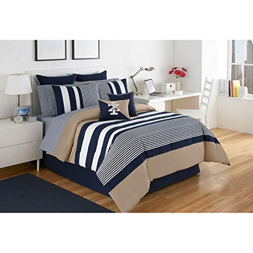 IZOD Classic Stripe Comforter Set, Full, Navy/Khaki