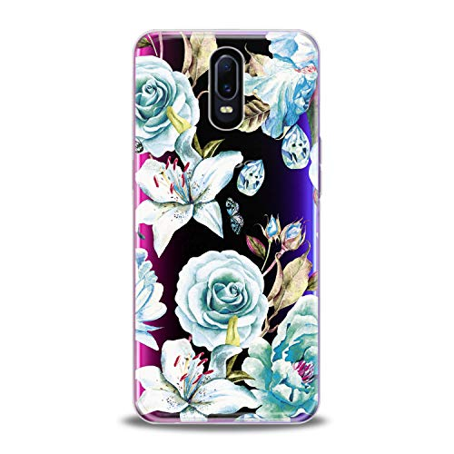 Lex Altern TPU Case for Oppo R17 F11 Realme 2 Pro 1 R15 F7 F9 K1 A7x Vintage Light Blue Roses Flowers Flexible Floral Lily Clear Cover Print Fashion Girl Luxury Women Protective Silicone Transparent
