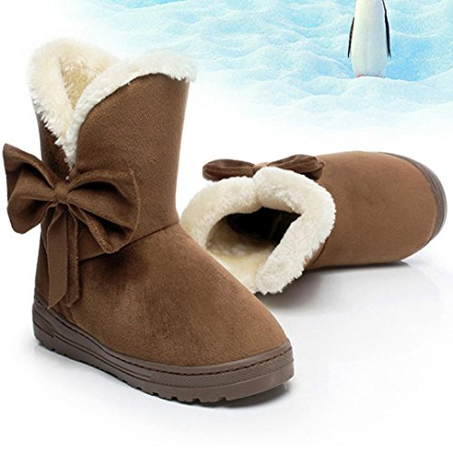 Clode® Womens Boot, Fashion Ladies Winter Chunky Sole Bowknot Warm Flats Snow Mid Calf Boots Shoes for Autumn Winter Coffee