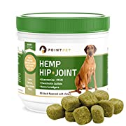#LightningDeal POINTPET Advanced Hip and Joint Supplement for Dogs with Organic Hemp Seeds and Oil, Best Glucosamine Chondroitin, MSM, Omega 3-6, Improves Mobility, Reduces Pain and Inflammation, 90 Soft Chews