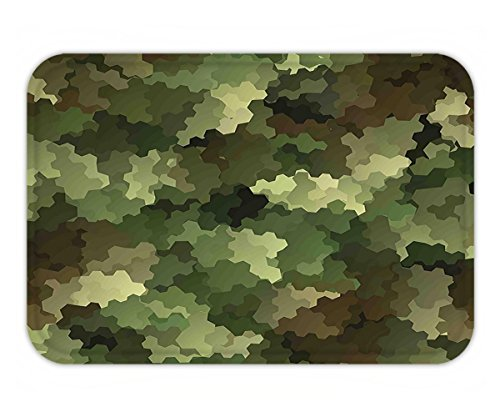 Minicoso Doormat Camo Frosted Glass Effect Hexagonal Abstract Being Invisible Woodland Army Green Light Green (Frosted Metallic Iris)