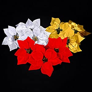 30 Pieces Christmas Flowers Artificial Red Gold Silver Poinsettia for Christmas Tree Basket Wreaths Ornaments,Dia 20 cm / 8 inches 3