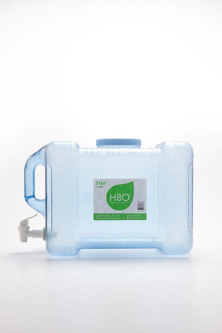 H8O Polycarbonate Portable Refrigerator Bottle with Valve, 3 gallon