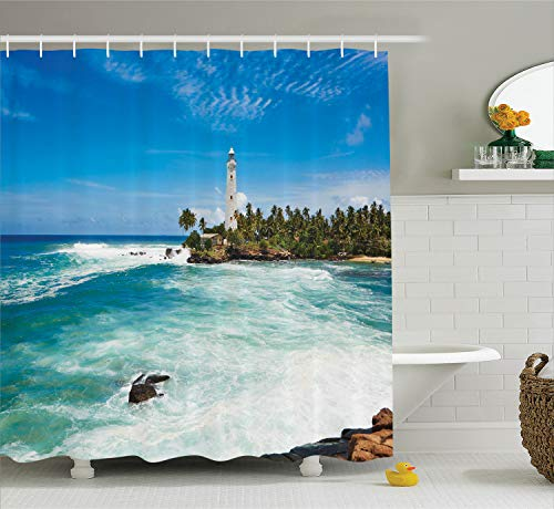 Ambesonne Lighthouse Shower Curtain, Tropical Island Lighthouse with Palm Trees Rocks Wavy Seaside Beach Ocean, Cloth Fabric Bathroom Decor Set with Hooks, 75