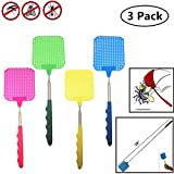 TSY TOOL 3 pack Extendable Long Fly Swatters Telescopic, Portable and Durable Mosquito Zapper Bug Killer with Strong and Extendable Plastic Surface and Telescopic Handle - Assorted Colors