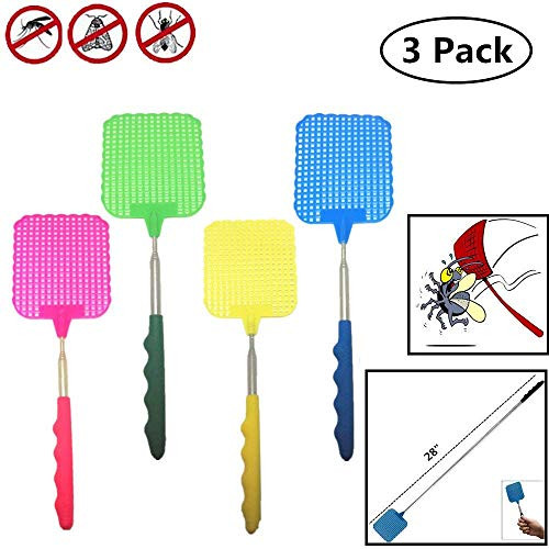 TSY TOOL 3 pack Extendable Long Fly Swatters Telescopic, Portable and Durable Mosquito Zapper Bug Killer with Strong and Extendable Plastic Surface and Telescopic Handle - Assorted Colors by TSY TOOL