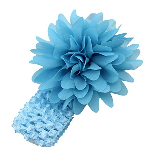 Demarkt Chic Bonnet à cheveux/Serre-tête/Bandeau à Cheveux Elastique Fleur Plume avec des Cristaaux Simulés Bleu