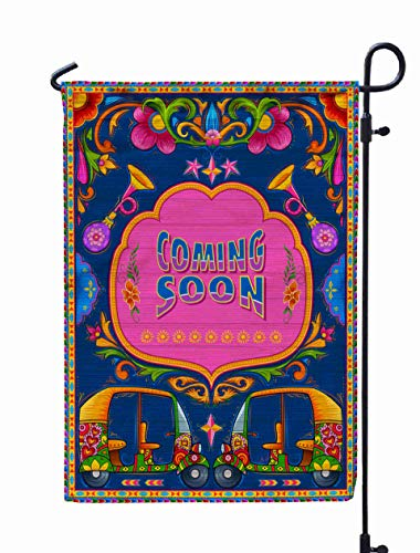 GROOTEY Welcome Outdoor Garden Flag Home Yard Decorative 12X18 Inches Colorful Coming Banner in Truck Art Kitsch Style India Double Sided Seasonal Garden Flags
