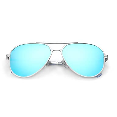 a47d085a2302 DONNA Unisex Retro Polarized Mirrored Aviator Sunglasses with Oversized  Anti-glare Lens Double Bridge Unbreakable