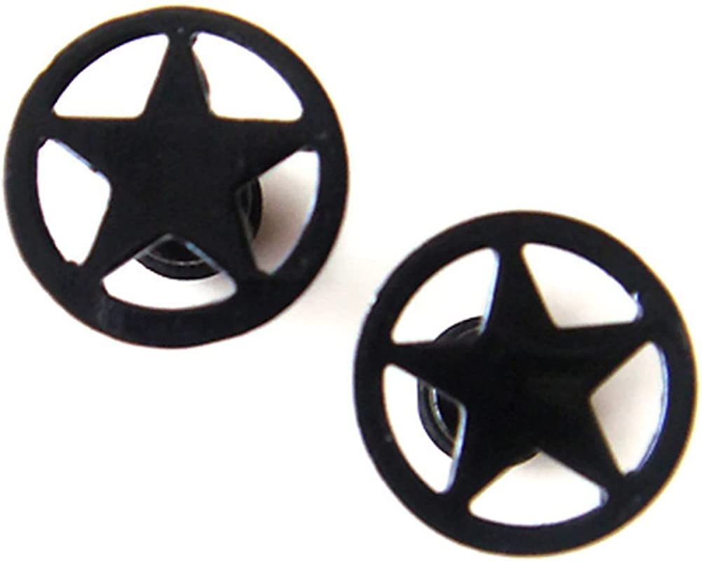 16g Pair Star Steel Fake Ear Plugs Ring Earlets Earrings Body Piercing Gift