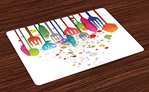 Lunarable Colorful Place Mats Set of 4, Home Kitchenware Utensils Cutlery Abstract Modern Vibrant Artistic Design, Washable Fabric Placemats for Dining Room Kitchen Table Decoration, White Pink Blue