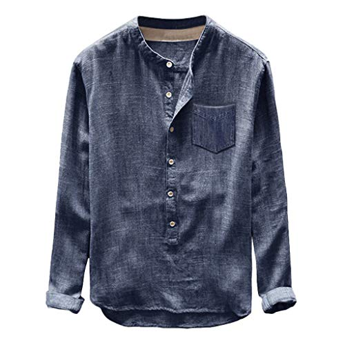 (OrchidAmor 2019 Fashion Mens Autumn Winter Button Casual Linen and Cotton Long Sleeve Top Blouse Blue)