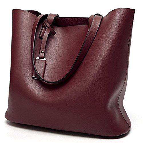 Pahajim women fashion Super fiber handle handbag top satchel purse PU leather shoulder bag (wine red)
