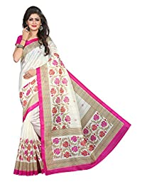 Shonaya Women`S Bhagalpuri Silk Printed Saree with Unstitched Blouse Piece